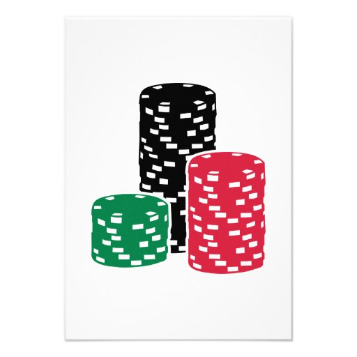 Poker Roulette chips gambling Personalized Invitations