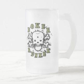 Poker Runner Frosted Glass Beer Mug