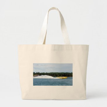Beach Themed Poker Runs America jet boat Large Tote Bag