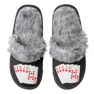 Poker Slippers Pair Of Fuzzy Slippers