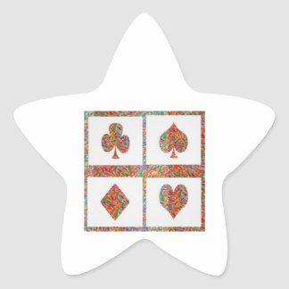 Poker Symbol Art - Fan Club - Multicolor choices Star Sticker