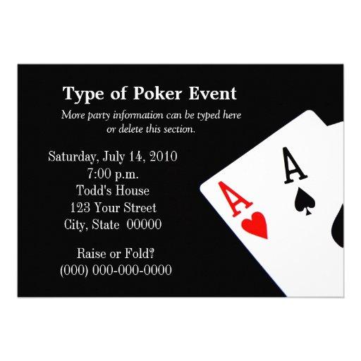 Poker themed party invitations