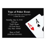 "Poker Themed Invitations 5"" X 7"" Invitation Card"