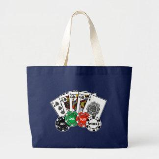 Poker v1 large tote bag