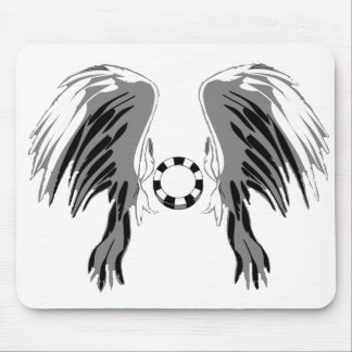 Poker wings black white gray with chip! mouse pad