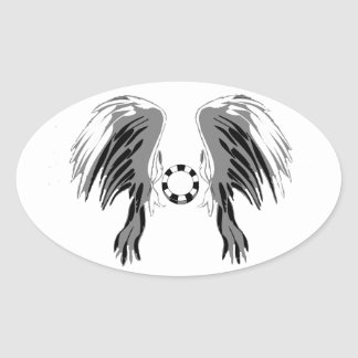 Poker wings black white gray with chip! oval sticker