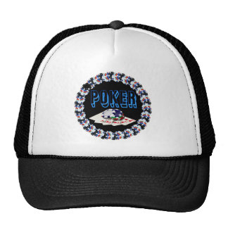 POKER WITH CARDS AND CHIPS TRUCKER HAT