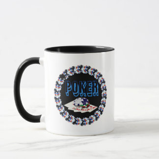 POKER WITH CARDS AND CHIPS MUG