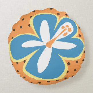Pokii Hawaiian Aloha Hibiscus Polka Dot Reversible Round Pillow