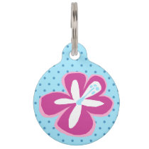 Pokii Hawaiian Cut Out Hibiscus Polka Dot Pet Name Tag