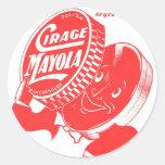 Polaco de zapato retro del kitsch 60s Cirage Etiquetas Redondas