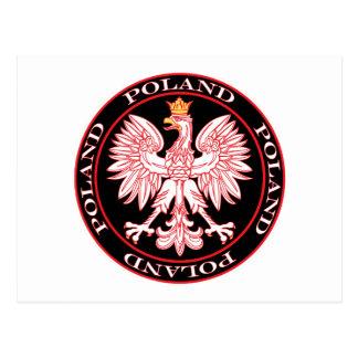 Polaco redondo Eagle del rojo Tarjetas Postales