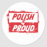 Polaco y orgulloso etiquetas redondas