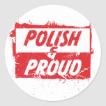 Polaco y orgulloso pegatina redonda