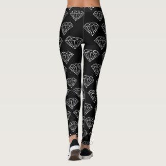 Polainas blancas negras de la impresión de la joya leggings
