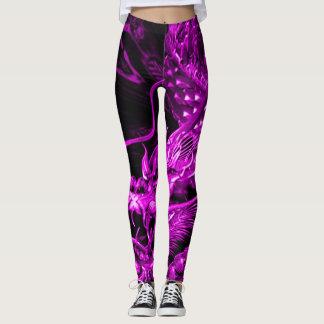 Polainas chinas púrpuras del arte del dragón leggings