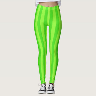 Polainas verdes claras del modelo de la raya leggings