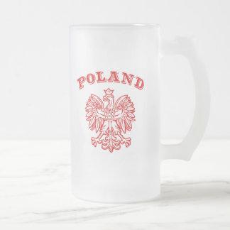 Poland 16 Oz Frosted Glass Beer Mug