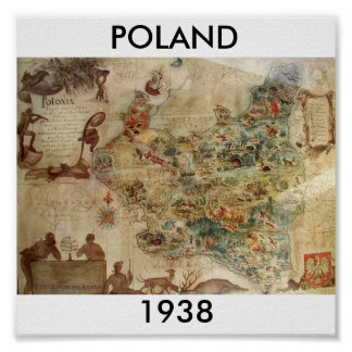 POLAND 1938 MAP POSTER