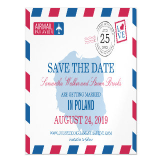 POLAND Airmail Save the Date Magnetic Card