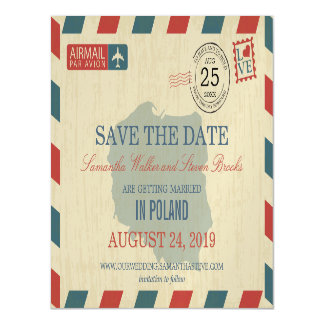 POLAND Antique Airmail Save the Date Magnetic Card