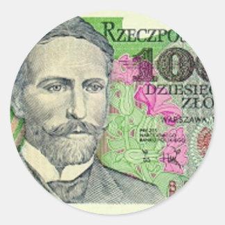 Poland Banknote 10,000 zloty Round Stickers