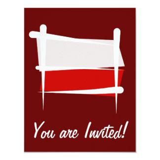 Poland Brush Flag 4.25x5.5 Paper Invitation Card