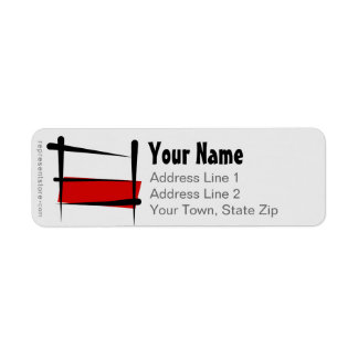 Poland Brush Flag Return Address Label