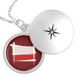 Poland Brush Flag Round Locket Necklace