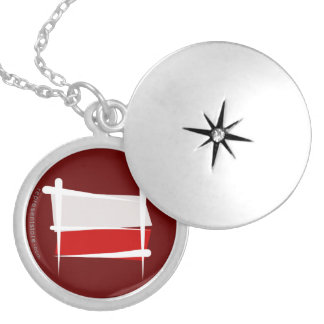 Poland Brush Flag Silver Plated Necklace