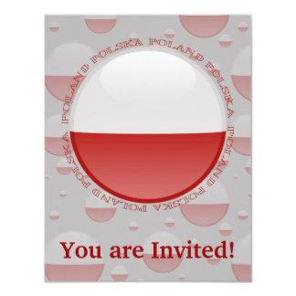 Poland Bubble Flag 4.25x5.5 Paper Invitation Card