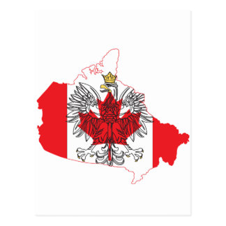 Poland Canada Flag Map Postcard