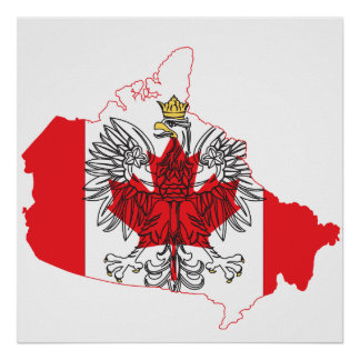 Poland Canada Flag Map Posters