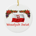Poland Christmas Double-Sided Ceramic Round Christmas Ornament