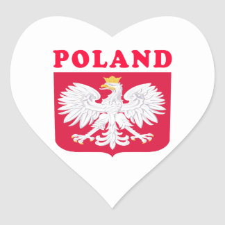 Poland Coat Of Arms Designs Heart Sticker