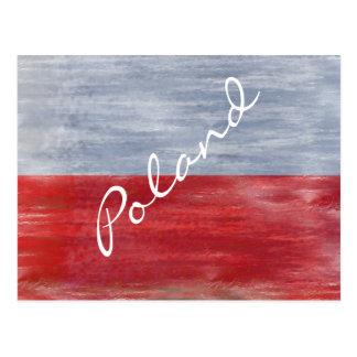 Poland distressed Polish flag Postcard
