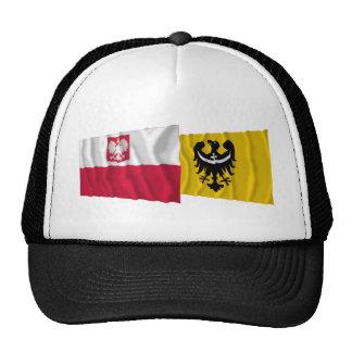 Poland & Dolnośląskie waving flags Trucker Hat