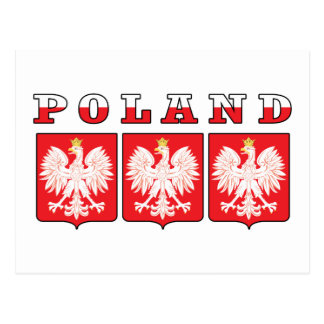 Poland Eagle Shields Postcard