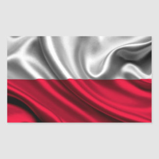 Poland Flag Fabric Rectangular Sticker
