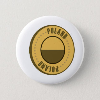 Poland Flag Gold Coin Pinback Button