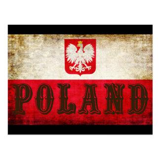 Poland Flag Grunge Postcard