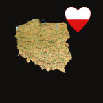 Poland Flag Heart Map Fitted AA T-Shirt