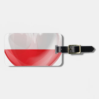 Poland flag love heart luggage tag