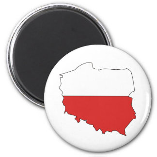 Poland Flag Map full size 2 Inch Round Magnet