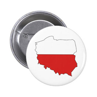 Poland Flag Map full size Pinback Button