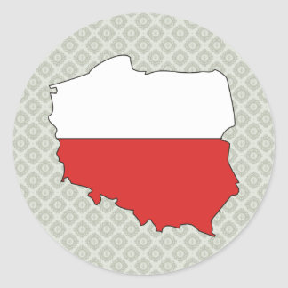 Poland Flag Map full size Classic Round Sticker