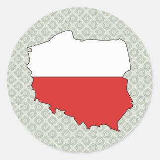 Poland Flag Map full size Classic Round Sticker