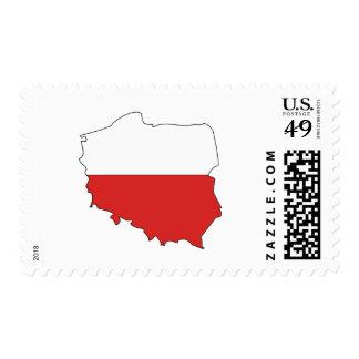 Poland flag map postage