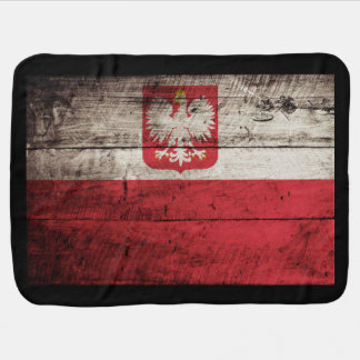 Poland Flag on Old Wood Grain Baby Blanket