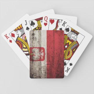 Poland Flag on Old Wood Grain Card Decks